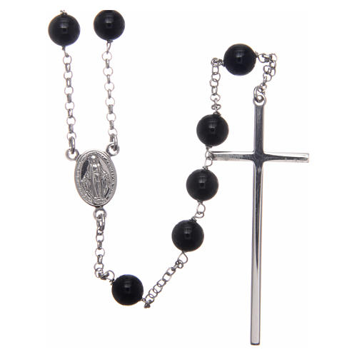 AMEN rosary in rhodium-plated 925 silver with round onyx beads 1