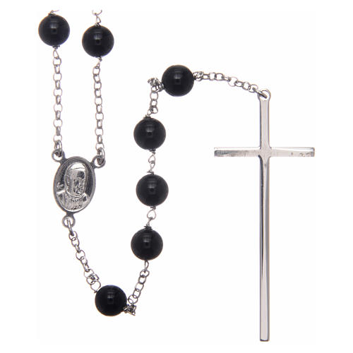 AMEN rosary in rhodium-plated 925 silver with round onyx beads 2