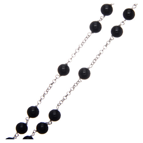 AMEN rosary in rhodium-plated 925 silver with round onyx beads 3