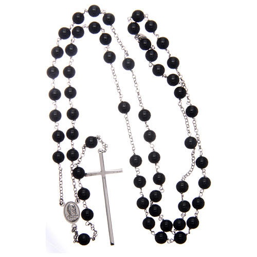 AMEN rosary in rhodium-plated 925 silver with round onyx beads 4