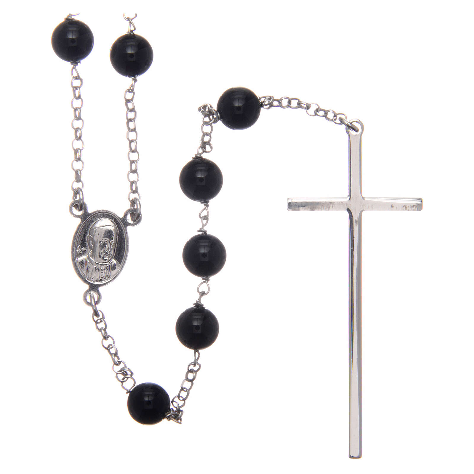AMEN classic rosary 925 silver and onyx finished in rhodium round beads 4