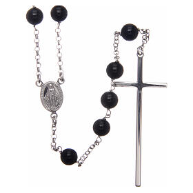 AMEN classic rosary 925 silver and onyx finished in rhodium round beads s1
