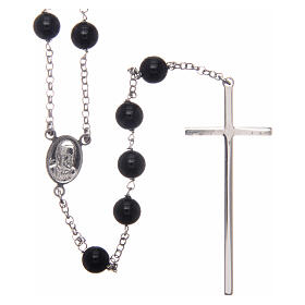 AMEN classic rosary 925 silver and onyx finished in rhodium round beads s2