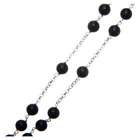 AMEN classic rosary 925 silver and onyx finished in rhodium round beads s3