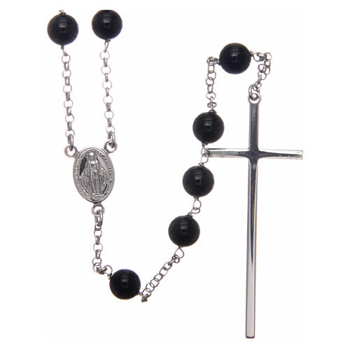 AMEN classic rosary 925 silver and onyx finished in rhodium round beads 1