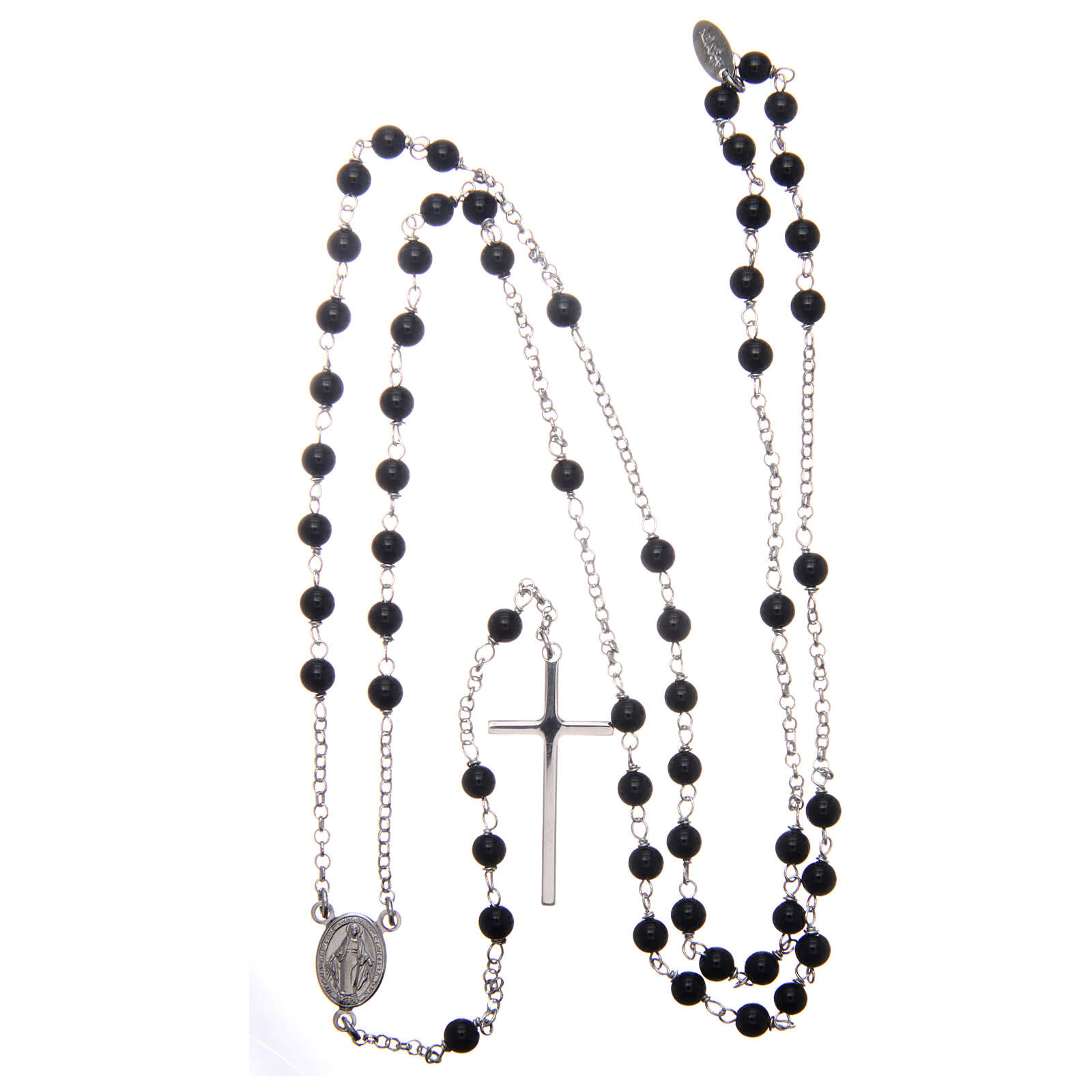 AMEN classic rosary 925 silver finished in rhodium and round onyx beads 4