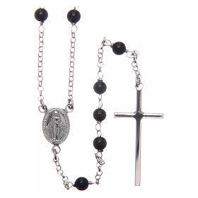 AMEN classic rosary 925 silver finished in rhodium and round onyx beads s1