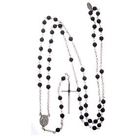 AMEN classic rosary 925 silver finished in rhodium and round onyx beads s4