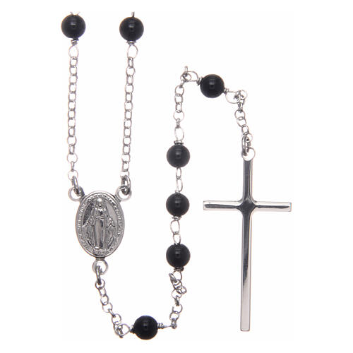 AMEN classic rosary 925 silver finished in rhodium and round onyx beads 1