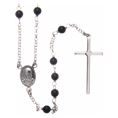 AMEN classic rosary 925 silver finished in rhodium and round onyx beads 2