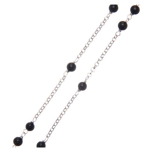 AMEN classic rosary 925 silver finished in rhodium and round onyx beads 3