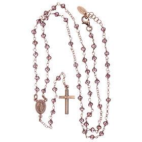 Rosario AMEN clásico plata 925 rosada cristales violeta grano redondo s4