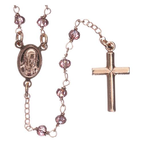 Rosario AMEN clásico plata 925 rosada cristales violeta grano redondo 2