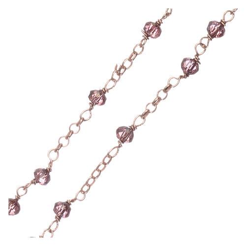 Rosario AMEN clásico plata 925 rosada cristales violeta grano redondo 3