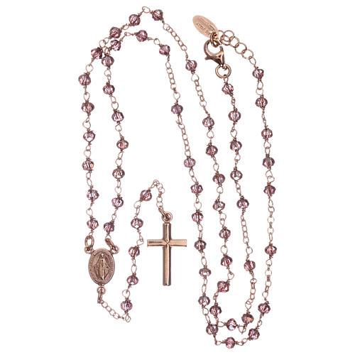 Rosario AMEN clásico plata 925 rosada cristales violeta grano redondo 4
