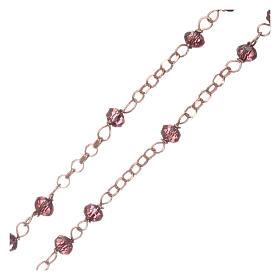 Rosario AMEN plata 925 rosada cristales violeta zircones blancos grano redondo s3