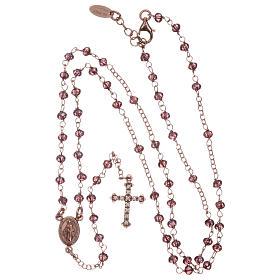 Rosario AMEN plata 925 rosada cristales violeta zircones blancos grano redondo s4