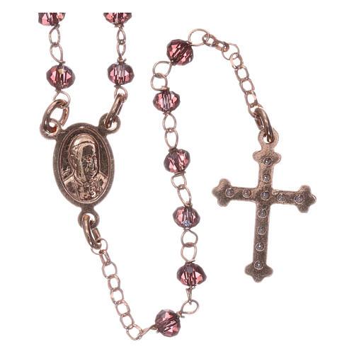Rosario AMEN plata 925 rosada cristales violeta zircones blancos grano redondo 2
