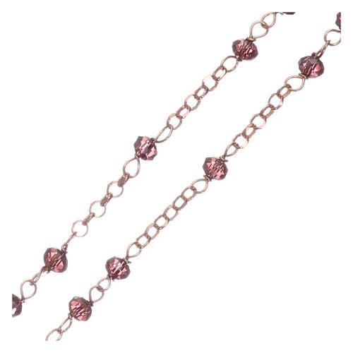 Rosario AMEN plata 925 rosada cristales violeta zircones blancos grano redondo 3