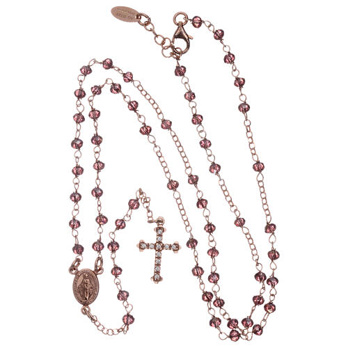 AMEN rosary 925 silver with rosé finish violet crystals white zircons round beads 4