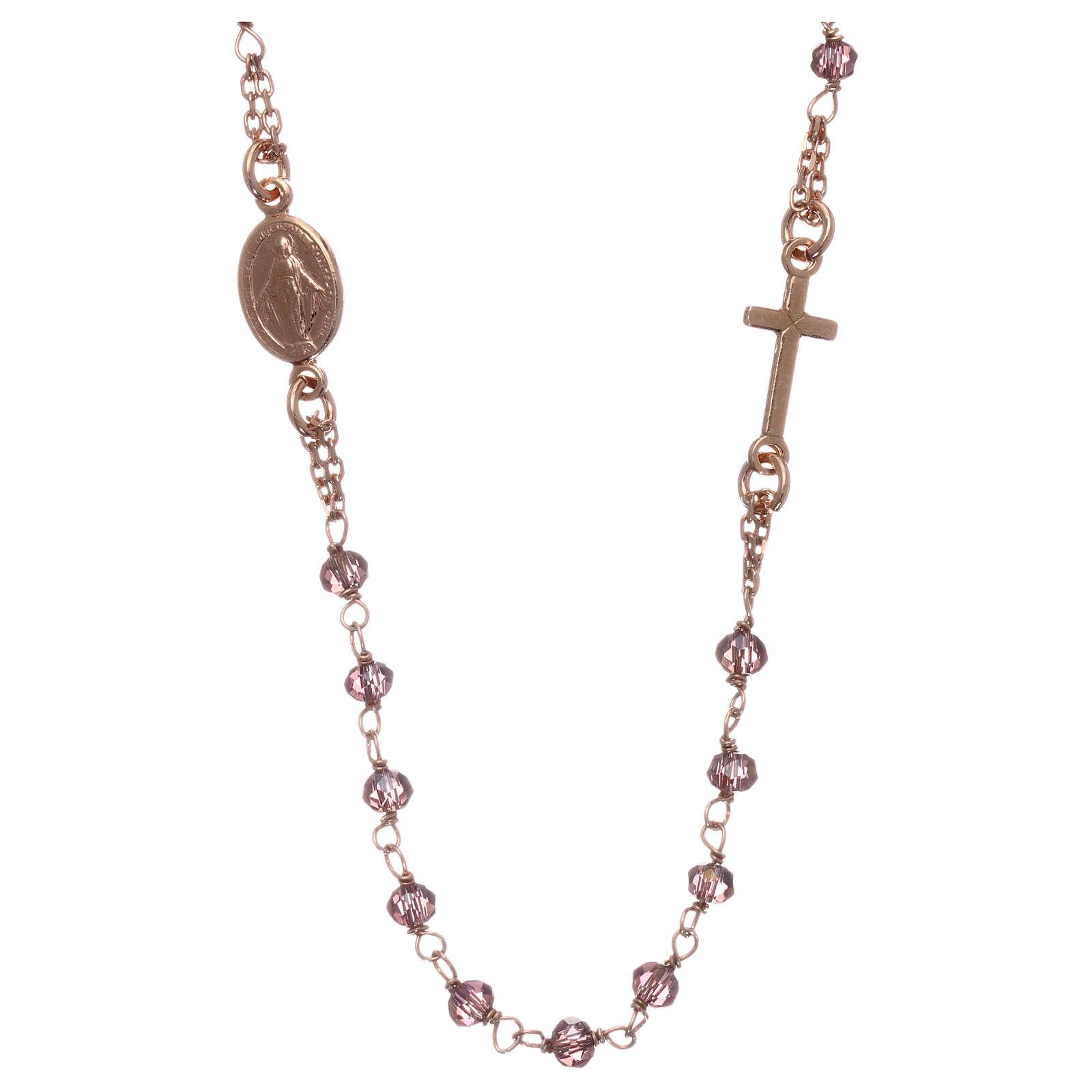 Rosario gargantilla AMEN plata 925 rosada cristales violeta 4