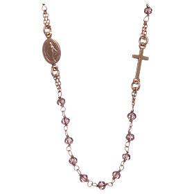 Rosario gargantilla AMEN plata 925 rosada cristales violeta s1