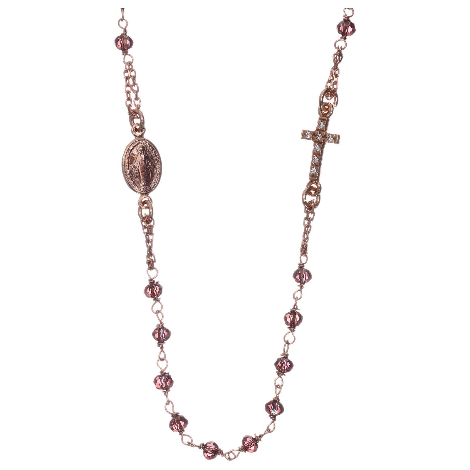 Rosario gargantilla AMEN plata 925 rosada cristales violeta zircones blancos 4