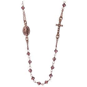Rosario gargantilla AMEN plata 925 rosada cristales violeta zircones blancos s1