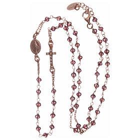 Rosario gargantilla AMEN plata 925 rosada cristales violeta zircones blancos s3