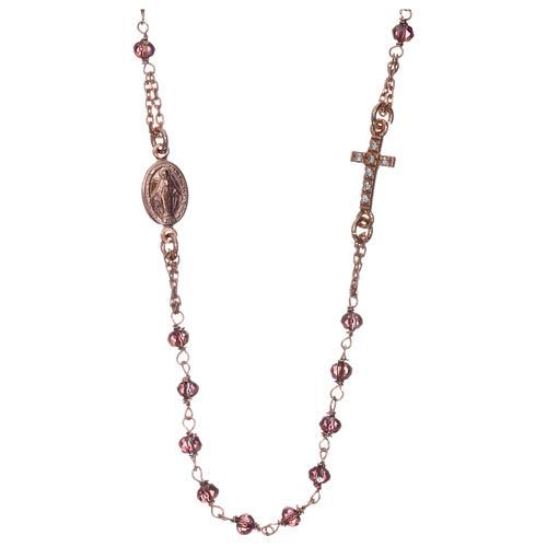 Rosario gargantilla AMEN plata 925 rosada cristales violeta zircones blancos 1
