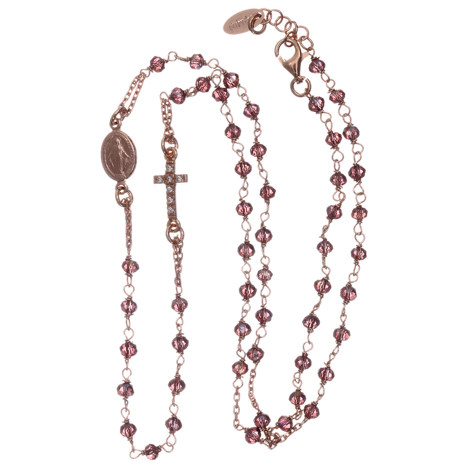 AMEN rosary choker 925 silver with rosé finish violet crystals white zircons 4