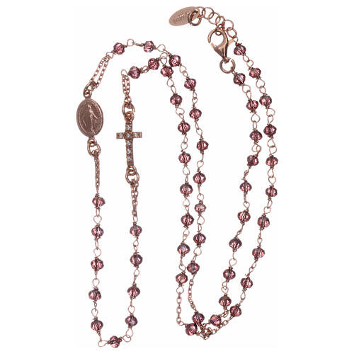 AMEN rosary choker 925 silver with rosé finish violet crystals white zircons 3