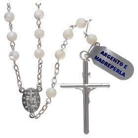 Rosary in mother-of-pearl 925 silver 5 mm s2