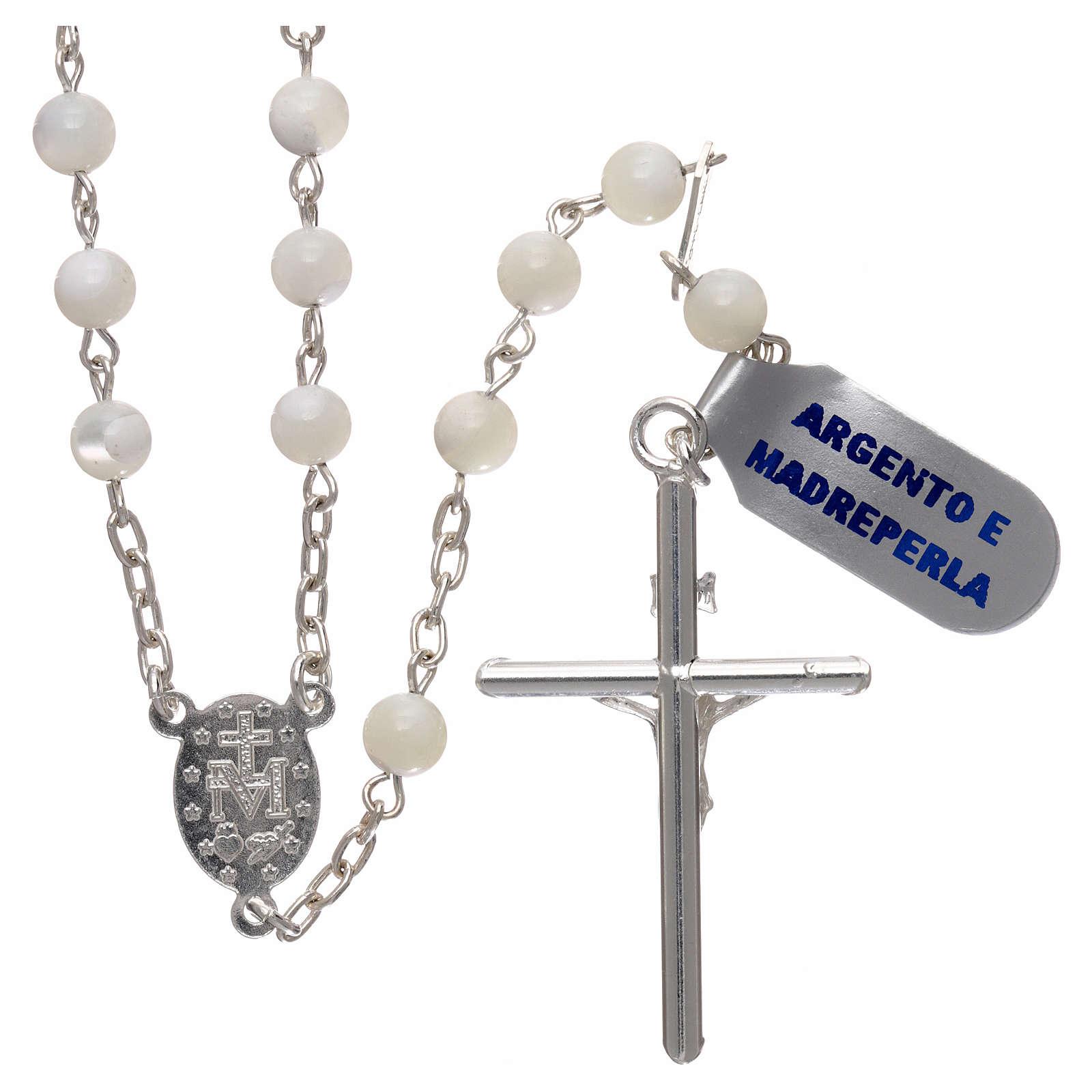 Rosario in argento 925 madreperla 5 mm 4
