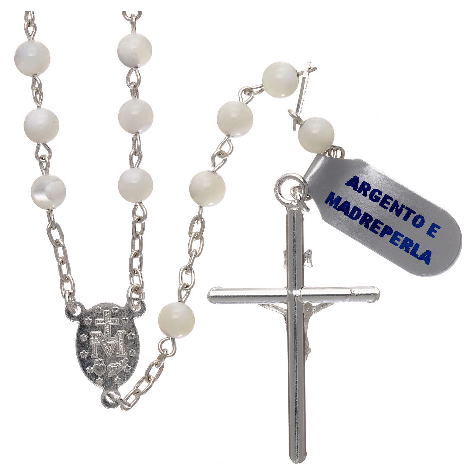 Rosary made of 925 silver and mother-of-pearl 5 mm 4
