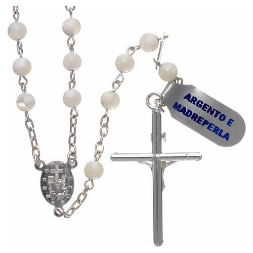 Rosary made of 925 silver and mother-of-pearl 5 mm 2