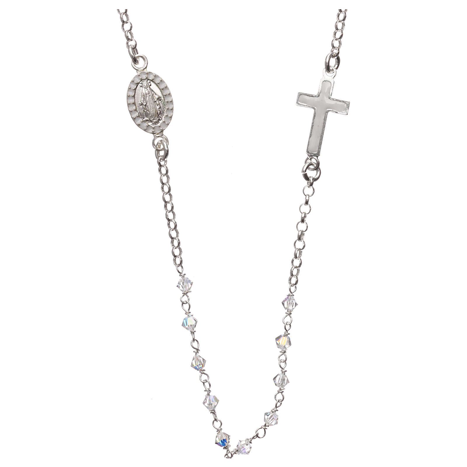 Rosary necklace in 925 silver and transparent Swarovski crystals 4