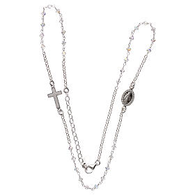 Rosary necklace in 925 silver and transparent Swarovski crystals s3
