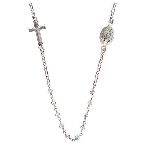 Rosary necklace in 925 silver and transparent Swarovski crystals 2