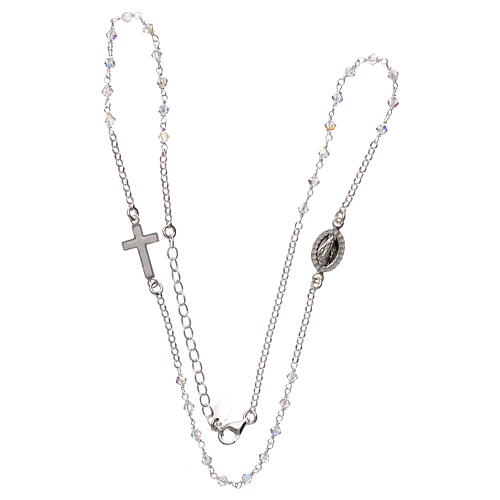 Rosary necklace in 925 silver and transparent Swarovski crystals 3