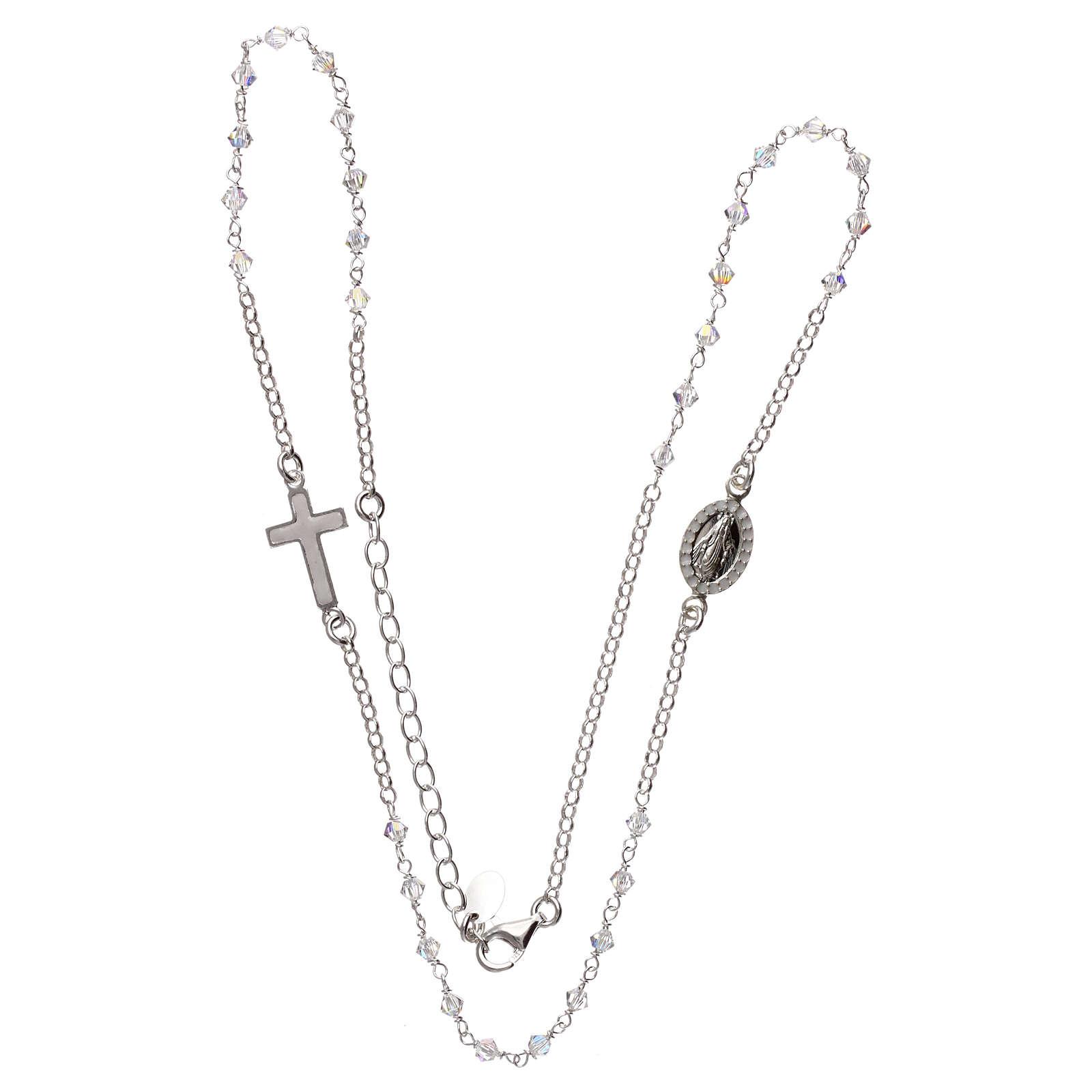 Collar rosario plata 925 con Swarovski transparentes 4