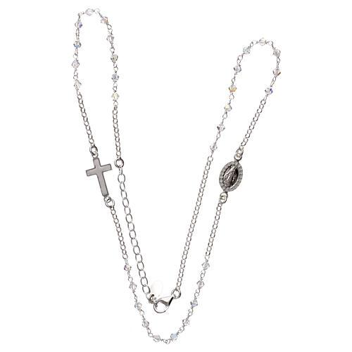 Collar rosario plata 925 con Swarovski transparentes 3