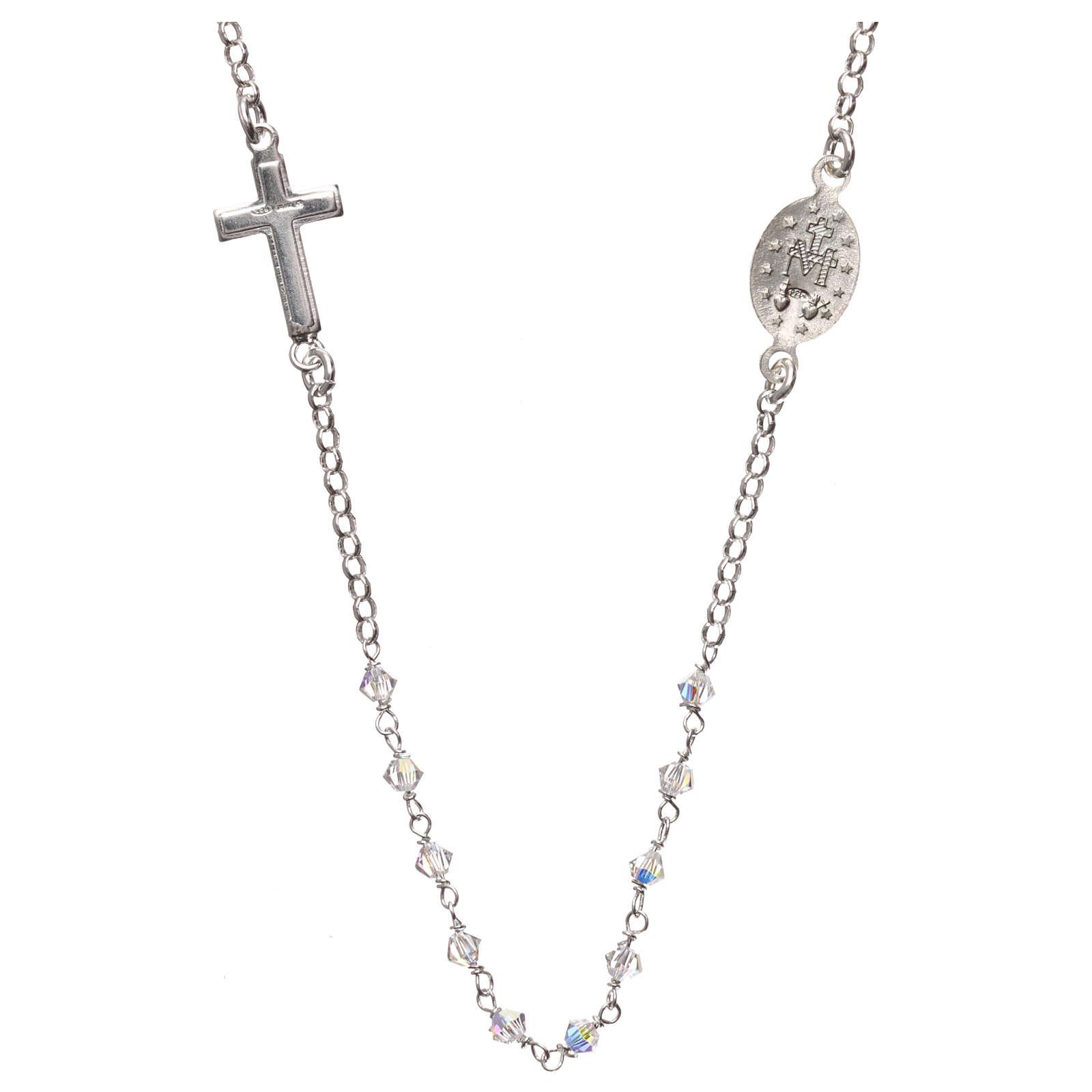 Collana rosario argento 925 con Swarovski trasparenti 4