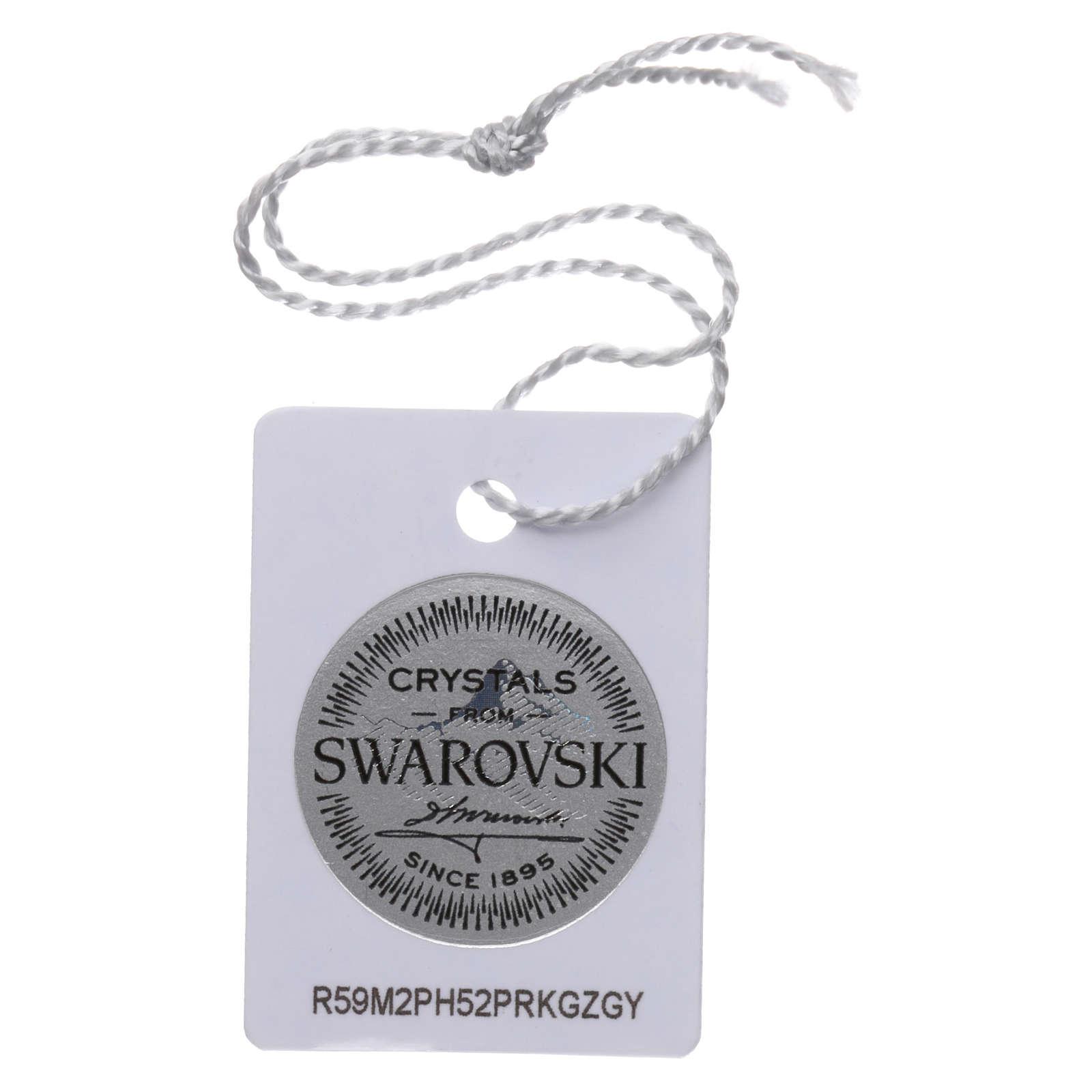 Terço colar prata 925 com Swarovski transparentes 4