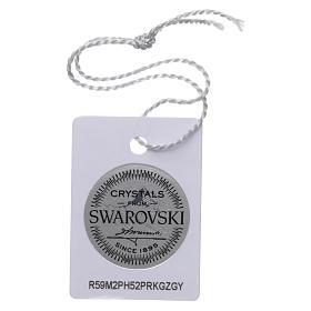 Terço colar prata 925 com Swarovski transparentes s4