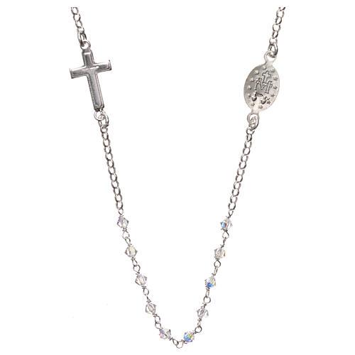Terço colar prata 925 com Swarovski transparentes 2