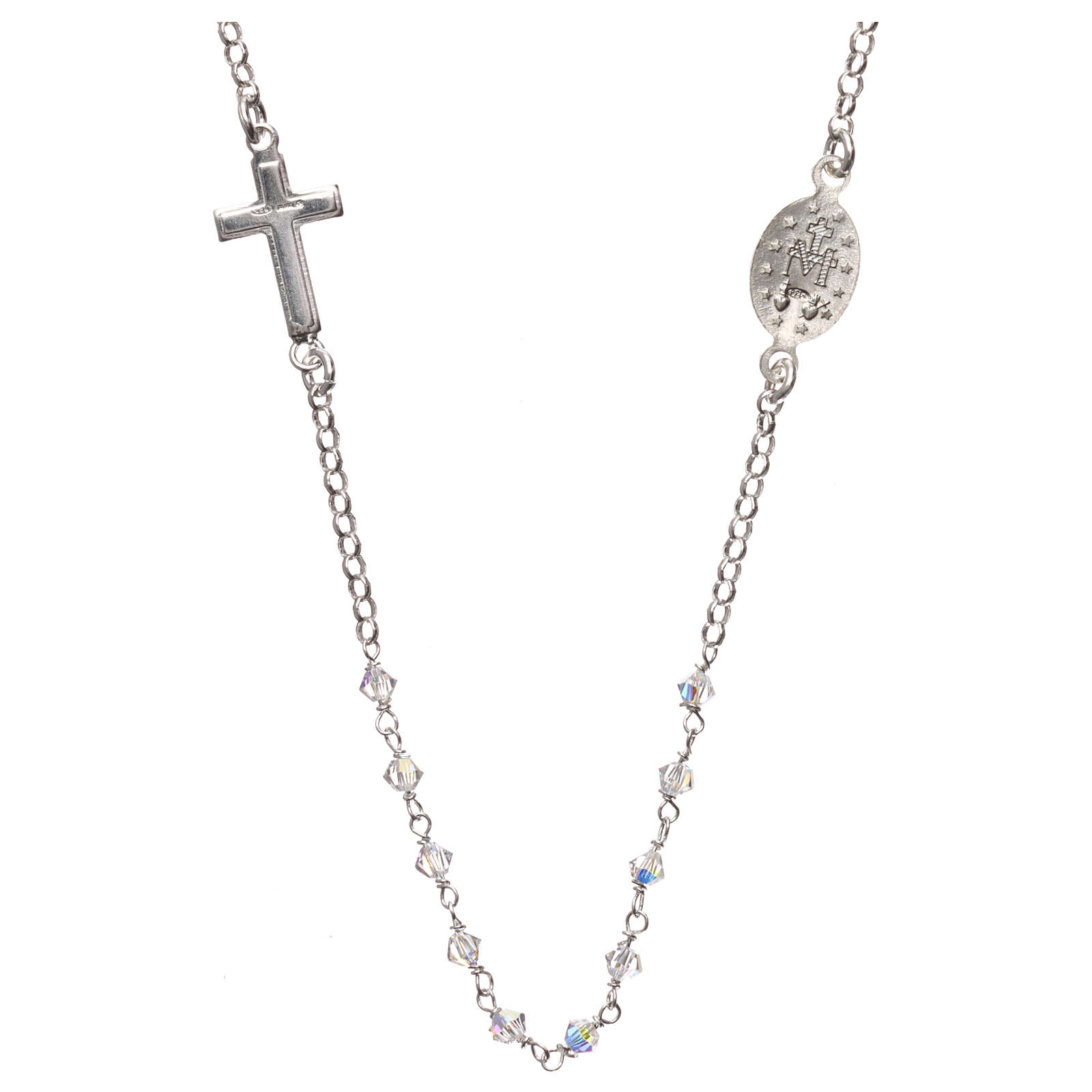 Rosary necklace 925 silver with transparent Swarovski 4
