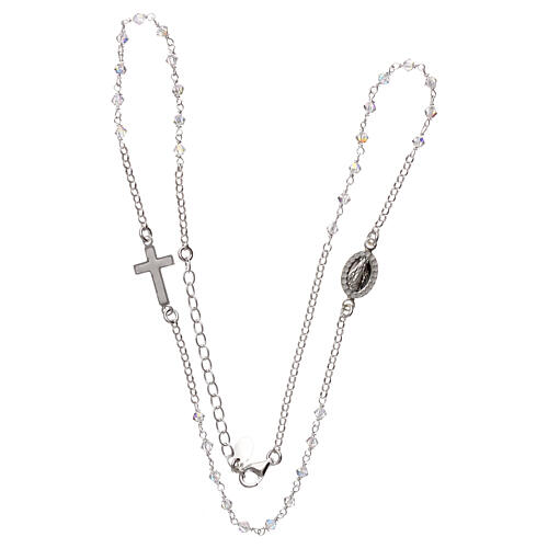 Rosary necklace 925 silver with transparent Swarovski 3