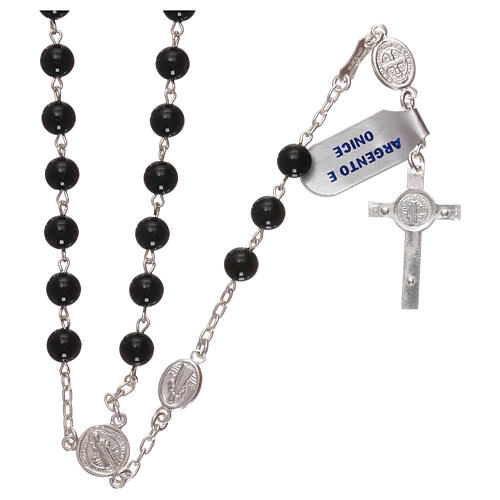 Rosenkranz aus 925er Silber und Onyx Heiliger Benedikt