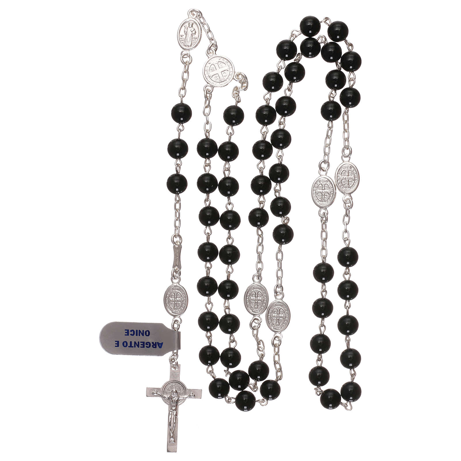 Rosario san Benedetto argento 925 e onice 4